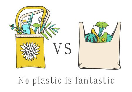 Eco bag vs plastic bag. Zero waste composition. Two bags with products and leaves. Hand drawn vector sketch illustration on white background
