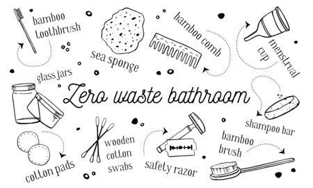 Zero waste bathroom objects set. hand drawn outline vector sketch illustration. Black on white background