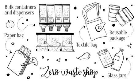Zero waste shop objects set. hand drawn outline vector sketch illustration Ilustración de vector
