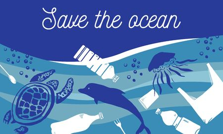 Save the ocean concept. Sea animals swiming with waste