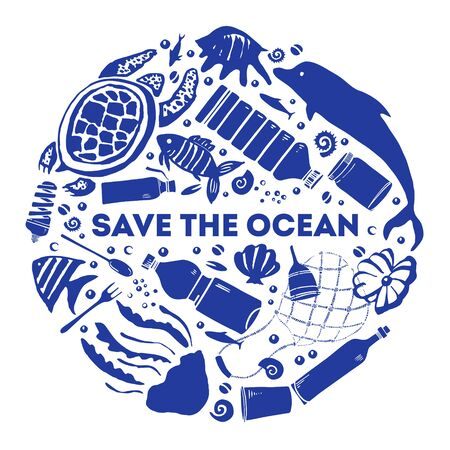 Round composition. Concept save the ocean. Hand drawn vector sketch illustration 向量圖像