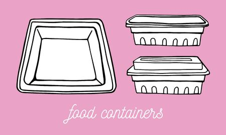 Set of rectangular food containers in different points of view. From the top and from the bottom. Hand drawn outline vector sketch illustration