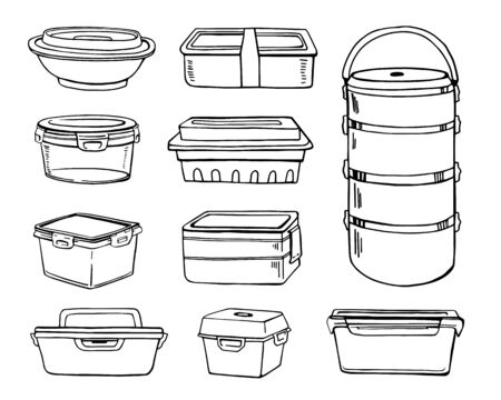 Set of different lunch boxes. Hand drawn vector sketch illustration Illustration