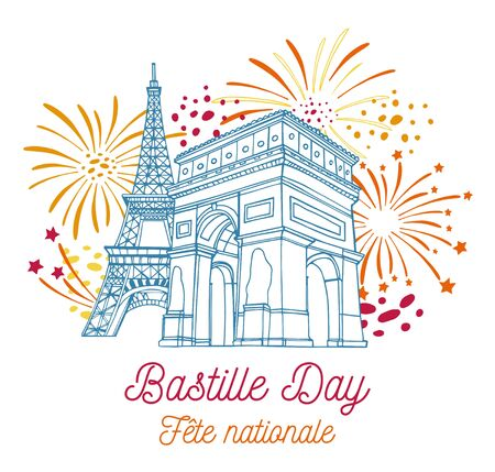 Eiffel tower, Triumphal arch and fireworks. Bastille Day design template. Title in French National celebration. Hand drawn vector sketch illustration Banque d'images
