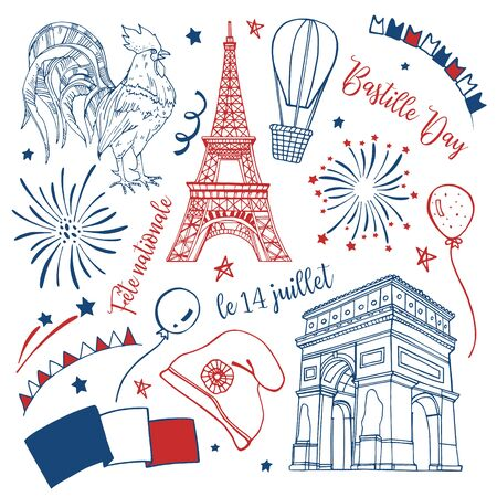 Bastille Day set. Titles in French National Celebration, 14th of July. Eiffel tower, triumphal arch, decorations, fireworks, gallic rooster. Hand drawn vector sketch illustration