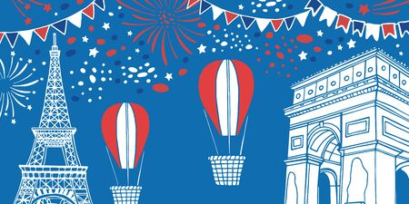 Eiffel tower and Triumphal arch. Bastille Day composition with air balloons, fireworks and flags. Hand drawn vector sketch illustration Banque d'images