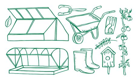 Set with two greenhouses, gardening tools and plants. Hand drawn vector sketch illustration