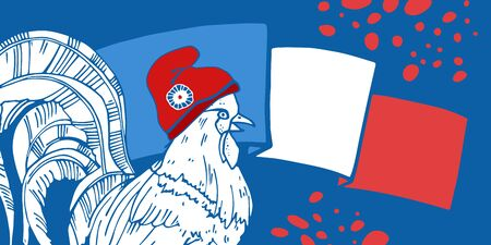 Bastille Day design template with gallic rooster and national flag of France. Hand drawn vector sketch illustration