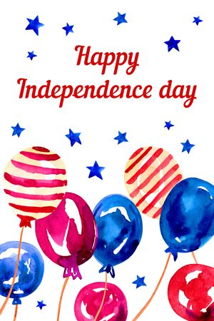 4th of July. USA Independence day design template with different balloons. Hand drawn watercolor sketch illustration Banque d'images