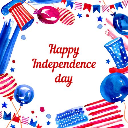 USA Independence day rectangular frame with balloons, hats and decorations. Hand drawn watercolor sketch illustration Banque d'images