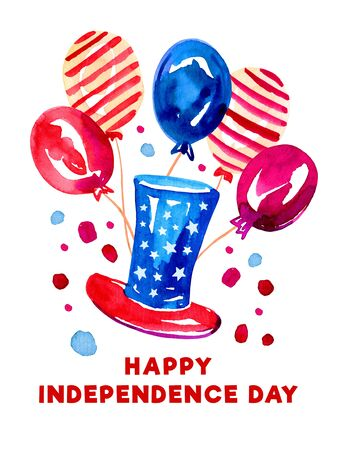 4th of July design template with top hat and balloons. Hand drawn watercolor sketch illustration