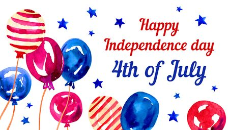 USA Independence day composition with colorful balloons. Hand drawn watercolor sketch illustration Banque d'images