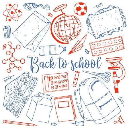Back to school set. Backpack, items for learning and science, book, sandwiches, food containers, stationary. Hand drawn outline vector sketch illustration