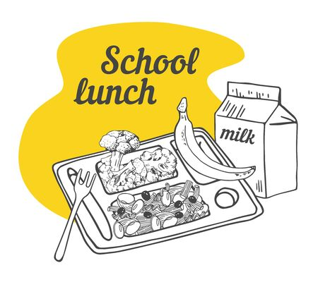 School cafeteria composition. Tray with food, banana and pack of milk. Hand drawn outline vector sketch illustration
