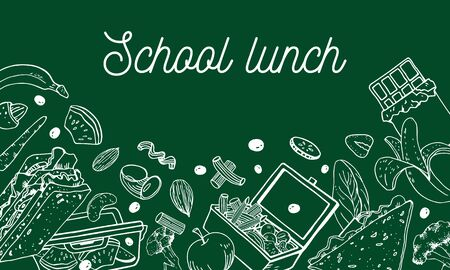 School lunch composition. Food containers, sandwiches, luncbox nuts and fruits on the bottom of the page. Hand drawn outline vector sketch illustration on green background