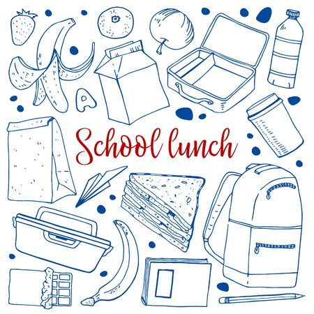 School lunch objects set. Food containers, snacks, fruits, sandwich, drinks, backpack. Hand drawn vector sketch illustration Vektoros illusztráció