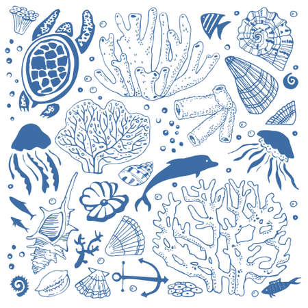 Set of sea animals and corals. Fishes, turtle, shells, dolphin, jellyfishes. Hand drawn vector sketch illustration. Isolated on white background