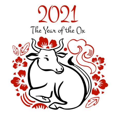 The Year of the Ox. Chinese New Year 2021 design template. Vector hand drawn ink sketch illustration with cow and decorations