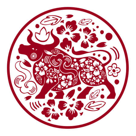 Chinese New Year 2021 composition in circle. The Year of the Ox. Vector ornate papercut silhouette illustration with buffalo and flowers