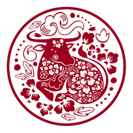 Chinese New Year 2021 design template. The Year of the Ox. Vector papercut silhouette illustration with laying cow and flowers in circle