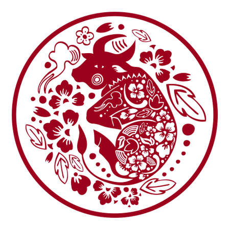 The Year of the Ox. Chinese New Year 2021 composition. Vector papercut silhouette illustration with buffalo and flowers in circle