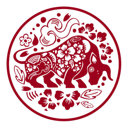 The Year of the Ox. Chinese New Year 2021. Vector ornate papercut silhouette illustration with cow and flowers in circle