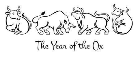 The Year of the Ox. Chinese New Year 2021 zodiac characters. Hand drawn vector sketch illustration set. Isolated on white background