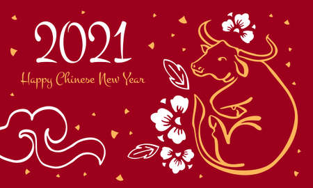 The Year of the Ox. Chinese New Year 2021 design template. Vector hand drawn ink sketch illustration with cow and decorative flowers. Yellow on red background Vektorgrafik