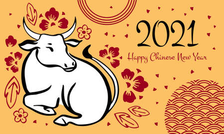Chinese New Year 2021 design template with wishing. The Year of the Ox. Vector hand drawn ink sketch illustration with lying cow and decorations on yellow background
