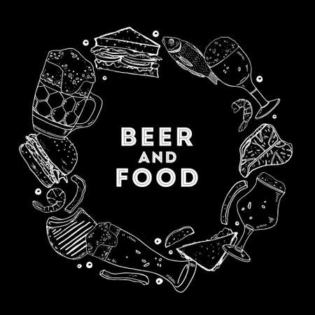 Beer and food. Round frame with drink glasses, sandwiches and snacks. Hand drawn outline vector sketch illustration on black background