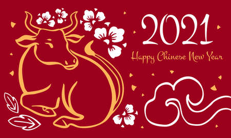 Chinese New Year 2021 design template with wishing. The Year of the Ox. Vector hand drawn ink sketch illustration with buffalo and decorations. Yellow on red background
