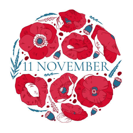 11 November design template with red poppies. Round composition. Hand drawn vector sketch illustration