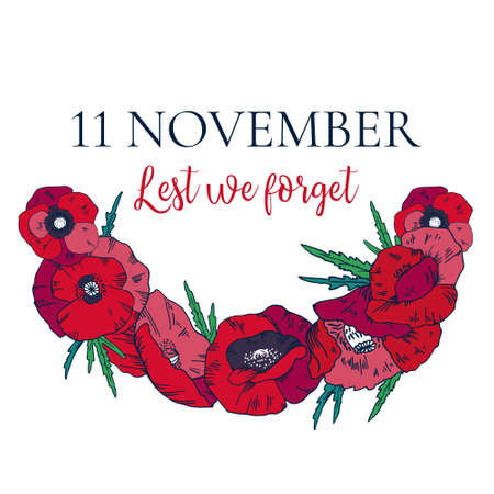 Remembrance day design template with red poppy wreath. Hand drawn vector sketch illustration on white background