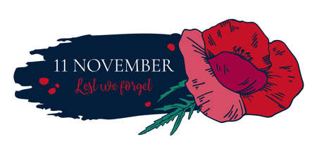 11 November, Remembrance day design template with red poppy and title on dark background. Hand drawn vector sketch illustration