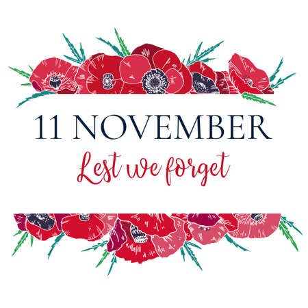11 November design template with red poppies. Border frame with title. Hand drawn vector sketch illustration Ilustración de vector