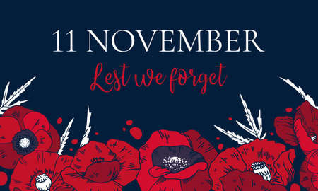 11 November, Remembrance day design template with red poppies on the bottom of the page and title. Hand drawn vector sketch illustration 矢量图像