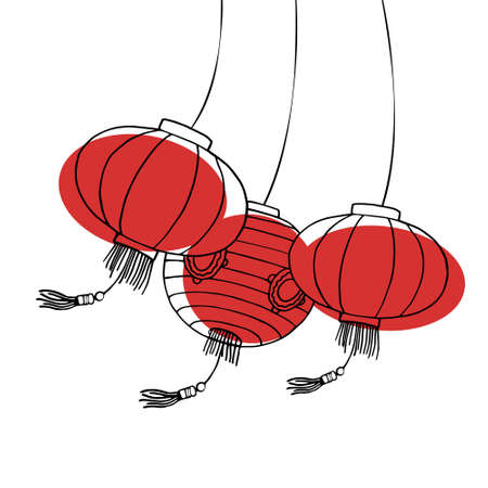 Chinese paper lanterns swinging in the wind. Hand drawn outline vector sketch illustration on white background