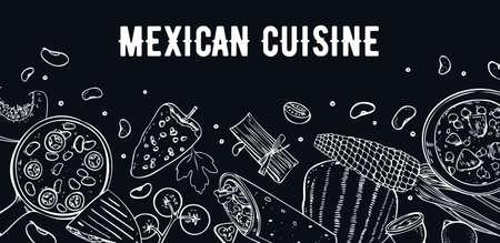 Mexican food. Menu design template. Dishes and vegetables. Soups, burrito, quesadilla, salsa. Hand drawn outline vector sketch illustration on black background Vector Illustration