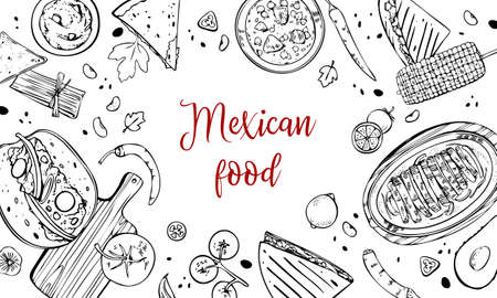 Mexican food composition with traditional dishes and ingredients. Hand drawn outline vector sketch illustration. Black on white background