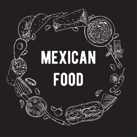 Round frame design template with traditional Mexican dishes and vegetables. Hand drawn outline vector sketch illustration. White on black background