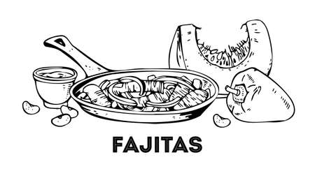 Composition with fajitas and vegetables. Hand drawn outline vector sketch illustration. Black on white background Vector Illustration