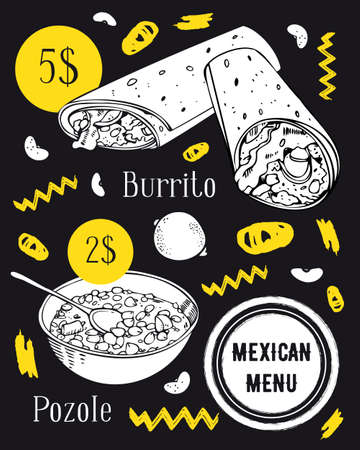 Mexican food poster template. Burrito and pozole soup. Hand drawn vector sketch illustration. White on black background