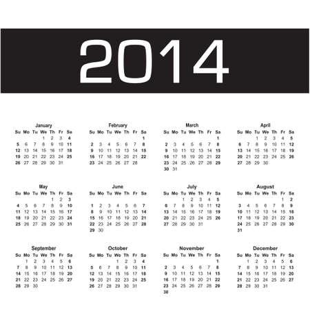 vector calendar 2014 black and white Stock Vector - 23111827