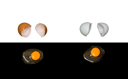 Motivational poster against racism and discrimination. Dark and light broken chicken eggs and raw white with yolk. Black nd white background. Free space for text.
