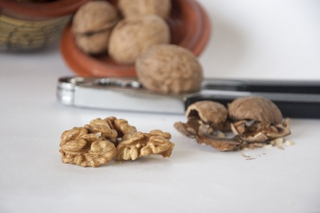 walnut kernel with shell on wooden backdrop. healthy food for brain. walnut background