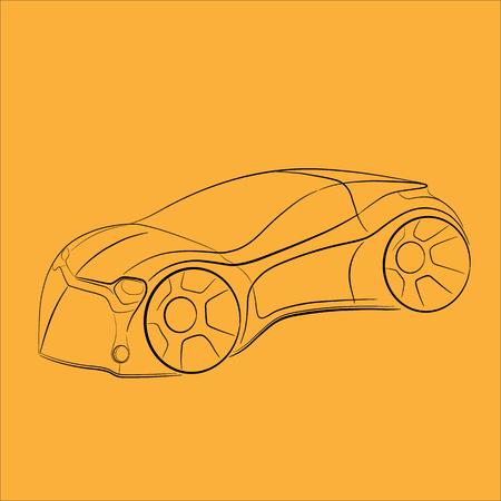 Car sketch with lines. Çizim