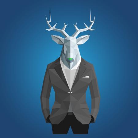 representative: Stylish deer in black suit. Blue background.