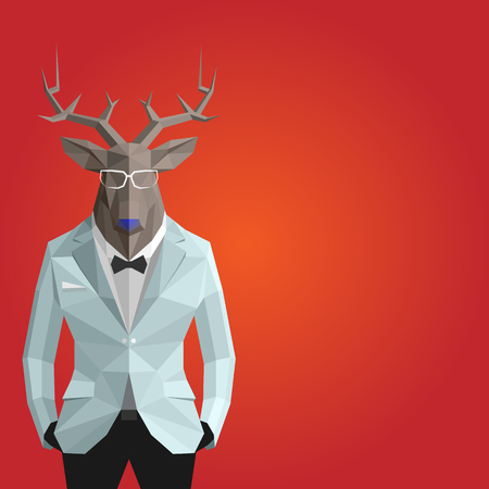 Stylish deer in white suit.Red background.Glasses.