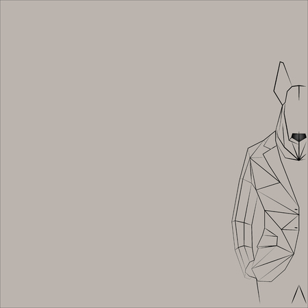 anthropomorphic: Wall Street Bull Terrier. Linear anthropomorphic dog in jacket.