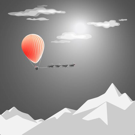 snowcapped: Christmas card.Santas flight in a balloon over the snow-capped mountains in the night.